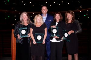 The Distinguished Leaders Award Winners, Claudia Milan, Susan Frank, Eva Gaudio and Carla Hedrick with Foundation Board Chairman Todd Peterson.